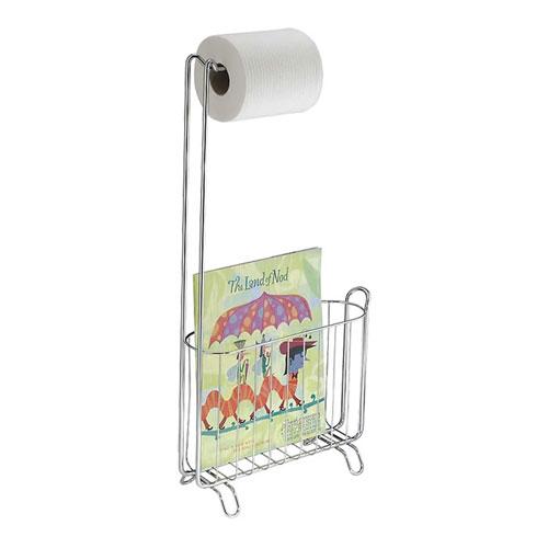 Tidnings& toalettpappershållare i polerat stål