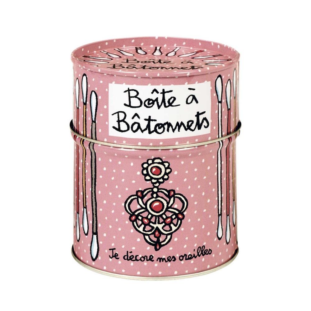 Förvara se Plåtburk för bomullspinnar, rosa