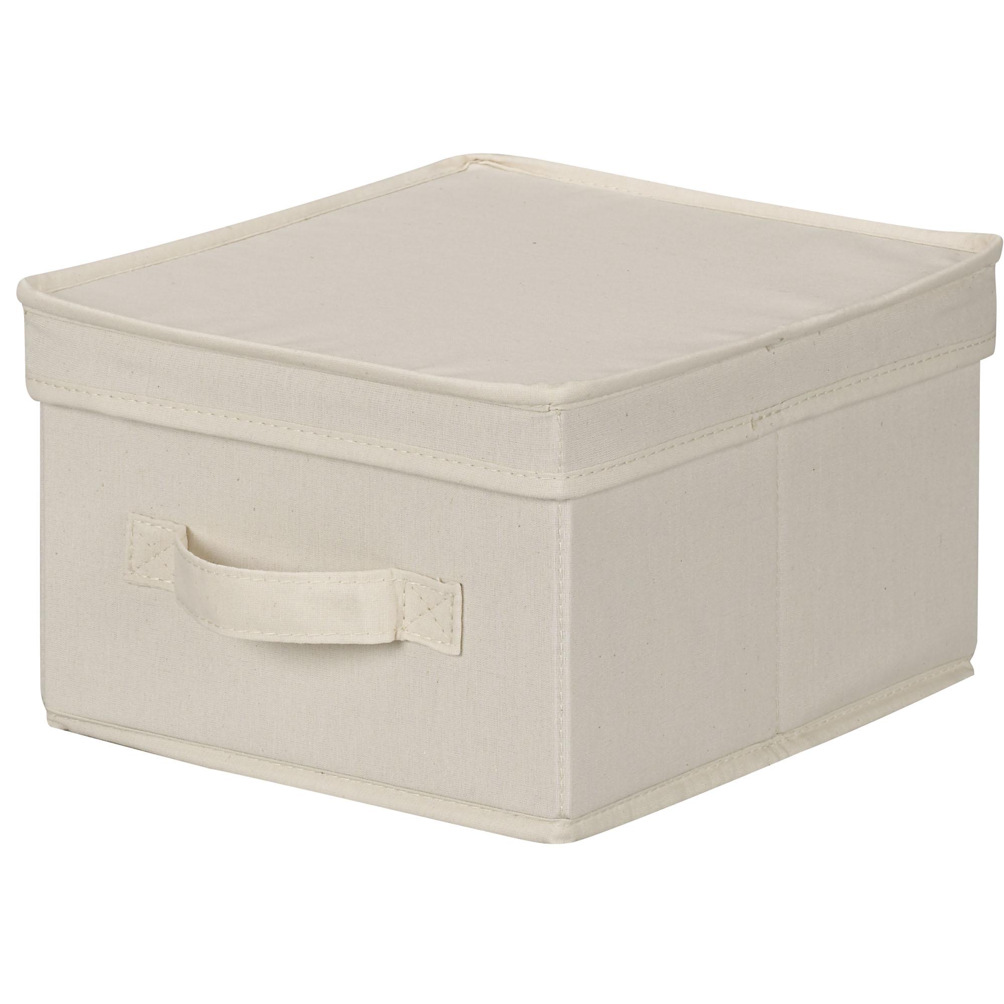 Box i tyg med lock, vit Välj storlek