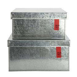 Lådor i plåt, rektangulär, set om 2